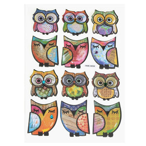 Boho Owls 3D Handcrafted Paper Stickers, 1-1/2-Inch, 9-Count