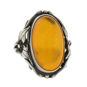 Arts & Crafts Sterling Silver & Amber Floral Motif Ring