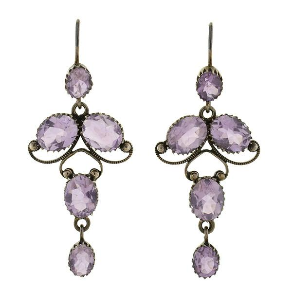 Arts & Crafts Era Sterling & Amethyst Dangling Lavalier Earrings