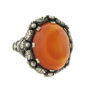 "Arts & Crafts Sterling & Carnelian ""Green Man"" Ring"