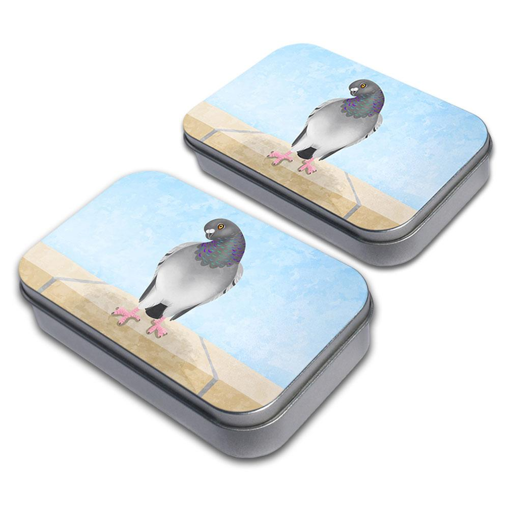 As the Pigeon Coos Decorative Craft Trinket Metal Tin Box Set of 2