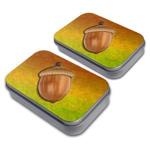 Autumn Acorn Decorative Craft Trinket Metal Tin Box Set of 2