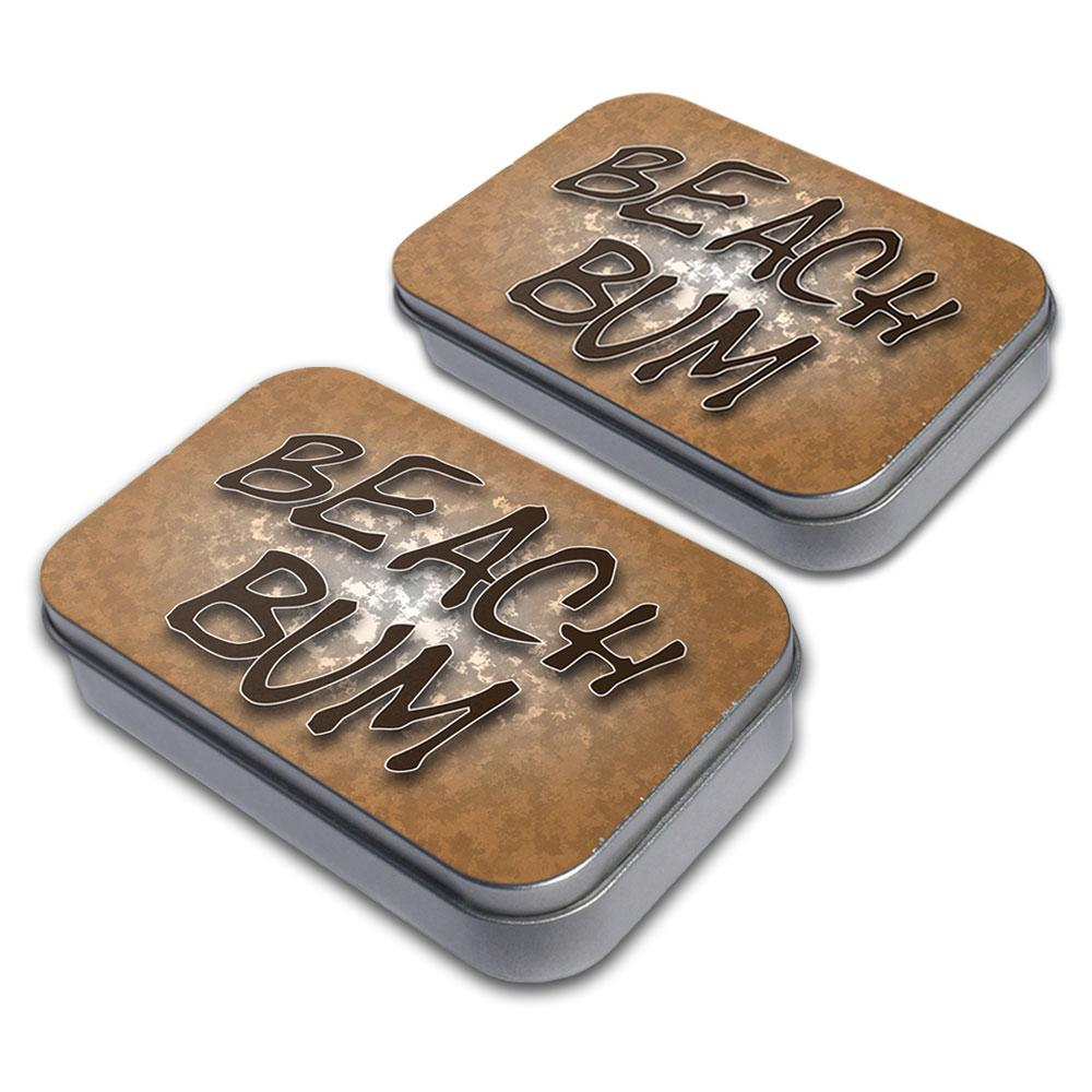 Beach Bum Surf and Sand Decorative Craft Trinket Metal Tin Box Set of 2