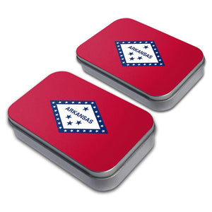 Arkansas State Flag Decorative Craft Trinket Metal Tin Box Set of 2