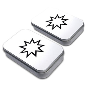 Bahai Star Decorative Craft Trinket Metal Tin Box Set of 2