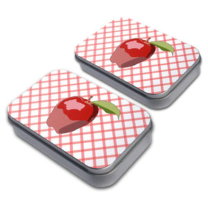 Apple Decorative Craft Trinket Metal Tin Box Set of 2