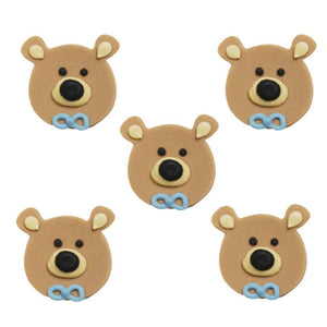 Anniversary House - 5 Teddy Bear Head Sugarcraft Toppers Blue