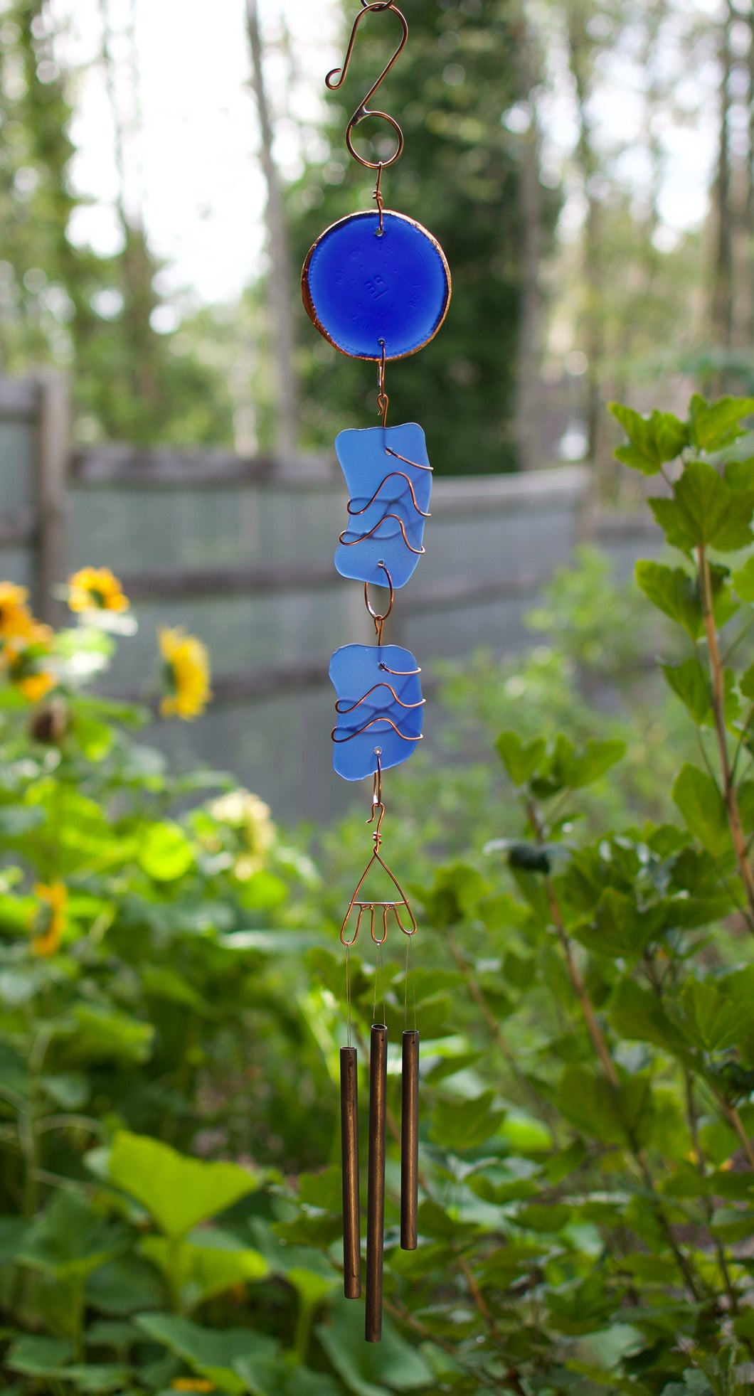 Blue Sea Glass Outdoor Wind Chime Handcrafted