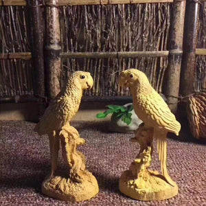 Boxwood Carved Parrot Statue