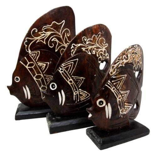 Balinese Wood Handicrafts Tropical Crown Angel Fish Family Set of 3 Figurines