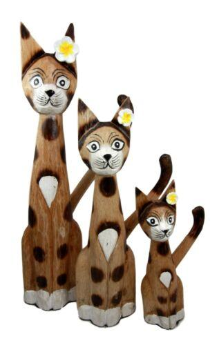 Balinese Wood Handicrafts Large Floral Feline Cat Family Set of 3 Figurines