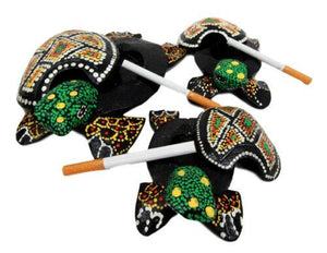 Balinese Wood Handicrafts Green Turtle Family Ashtray Shell Box Figurine Set