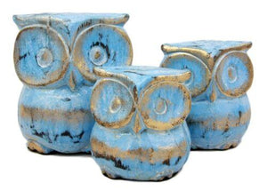 "Balinese Wood Handicrafts Blue & Gold Forest Owl Family Set of 3 Figurines 4""H"