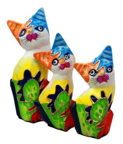 Balinese Wood Handicrafts Bright Colors Feline Cat Family Set of 3 Figurines