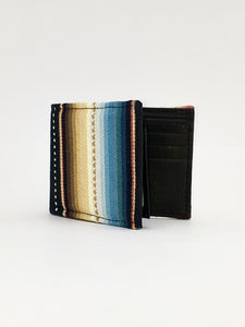 Black woven sarape textile handcrafted billfold style wallet