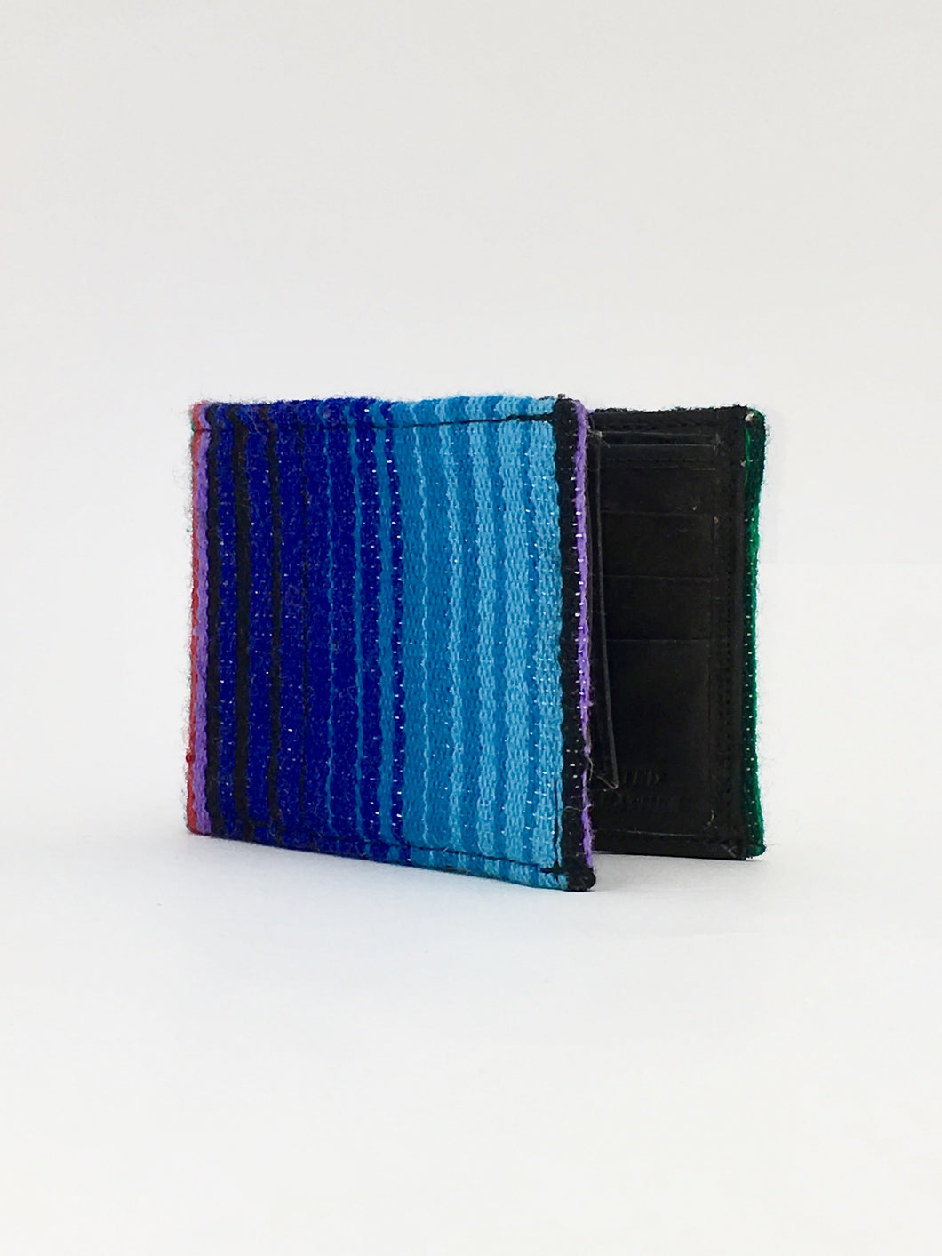 Blue and purple woven sarape textile handcrafted billfold wallet
