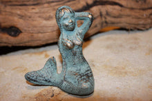 Load image into Gallery viewer, Antiqued Look Mermaid Figurines Solid Cast Iron 2 3/4 inches, Great item to add to nautical beach decor crafts, N-55A