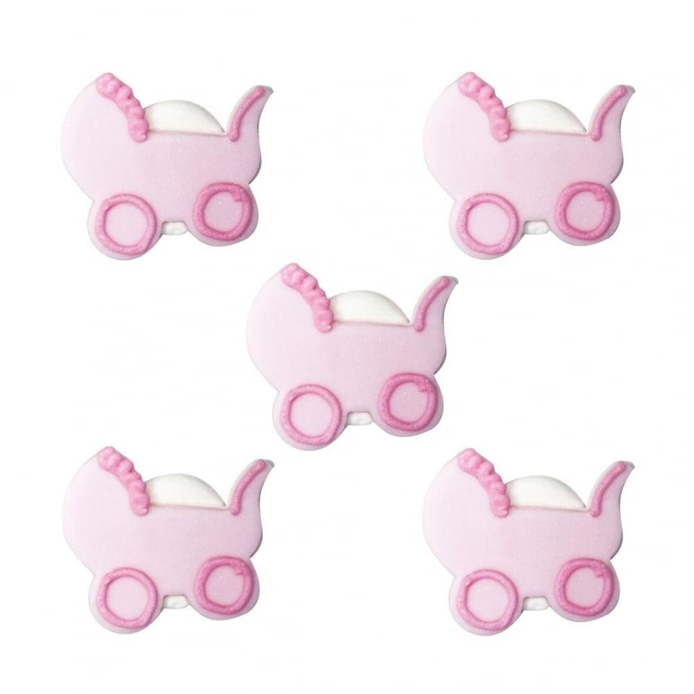 Anniversary House - 5 Baby's Pram Sugarcraft Topper Pink