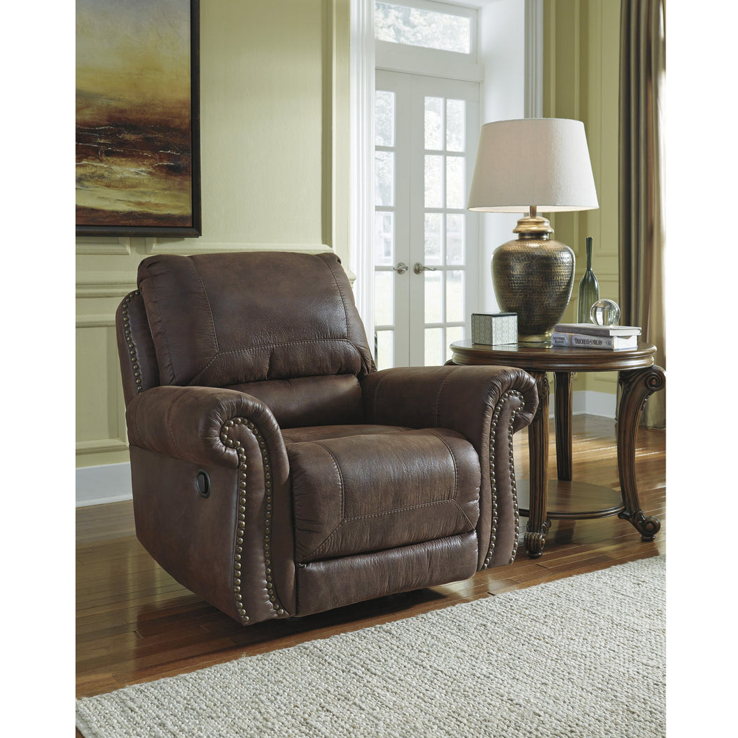 Benchcraft Breville Rocker Recliner in Faux Leather