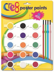 Art and Crafts Poster Paints Childrens Fun 15 Colours With Brushes P2539