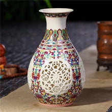 Load image into Gallery viewer, Antique Jingdezhen Ceramic Vase Chinese Pierced Vase Wedding Gifts Home Handicraft Furnishing Articles
