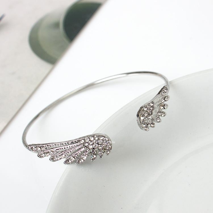 Angel Wings Bracelet Adjustable Woman Riding Bike Jewelry Gifts Open Bracelet Silver Plated Crystal Wholesale Spacecraft