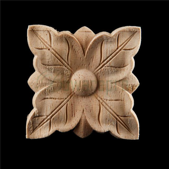 Bowarepro Retro Vintage Wood Carved Decal Angle Furniture Applique Decorate Frame Wooden Figurines Cabinet Decorative Crafts 1/P