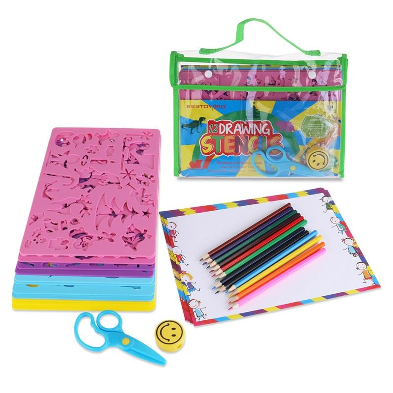 BESTOYARD 12 Drawing Stencils with Assorted Designs Creative Craft Painting Stencils Educational Art Tool Set for Kids Learning