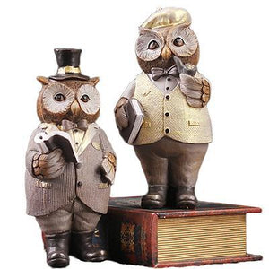 American Gentleman Owl Resin Handicrafts Ornaments Creative Cute Desktop Miniature Owl Figurine Home Decoration Accessories Gift