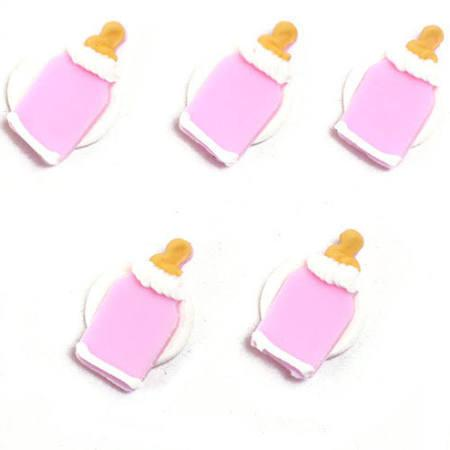 Anniversary House - 5 Baby's Bottle Sugarcraft Toppers Pink