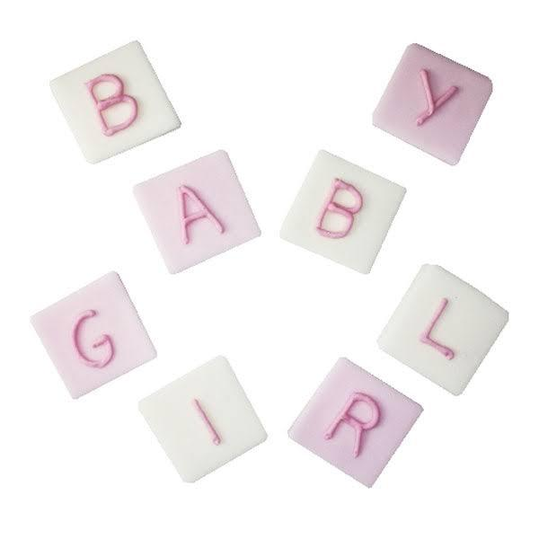 Anniversary House - Baby Girl Blocks Sugarcraft Toppers