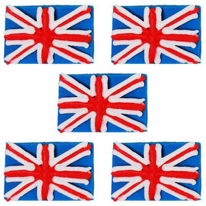 Anniversary House - 5 Union Jack Sugarcraft Toppers Blue