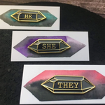Crystal Pronoun Pins