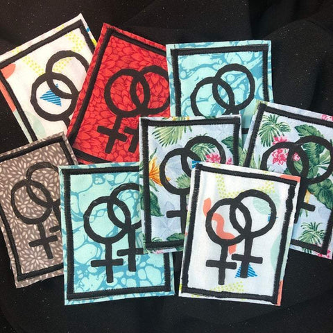 Lesbian Symbol Handmade Iron-on Patch-Coffin Cat-Agnes & Edie