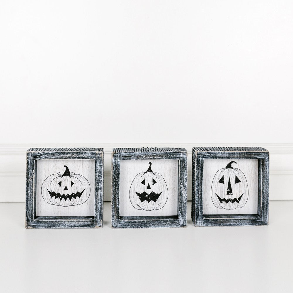 Pumpkin Faces Wood Framed Set-3 Pieces