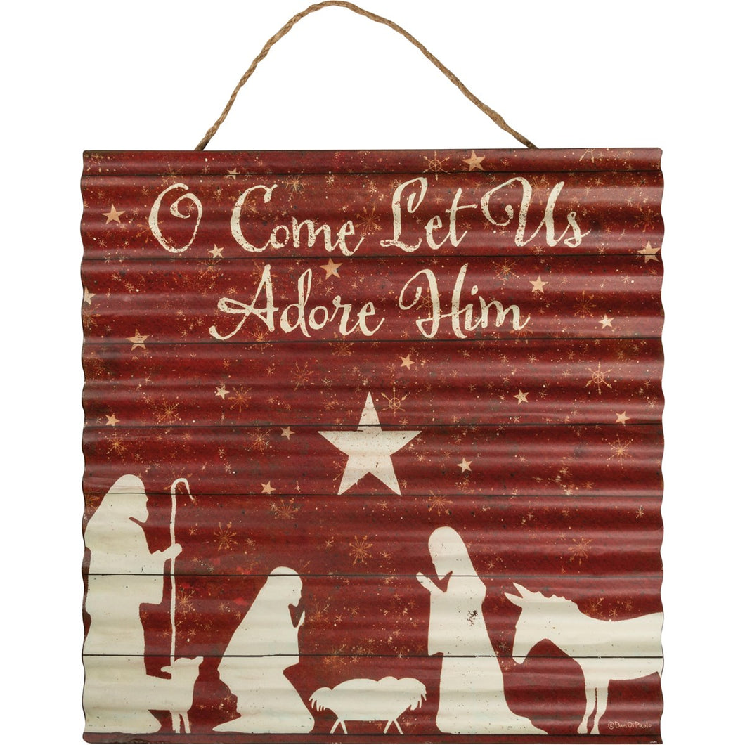 O Come Let Us Adore Him Metal Wall Decor