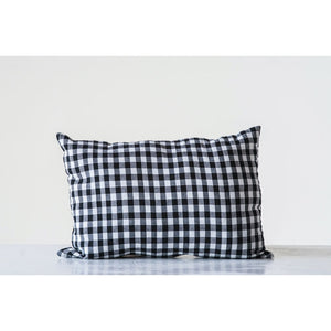 "20"" L x 14"" H Cotton blend pillow in black and white gingham"