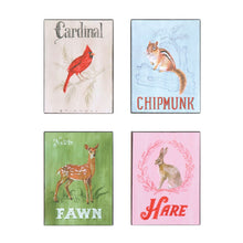 Load image into Gallery viewer, block wall decor with animals in four styles of cardinal, chipmunk, fawn and hare