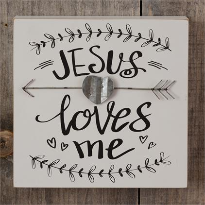 jesus loves me box sign