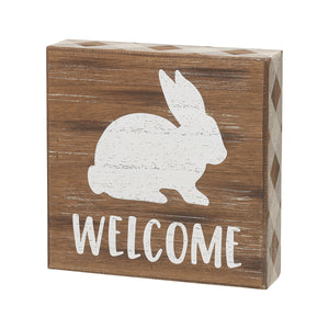 bunny welcome box sign