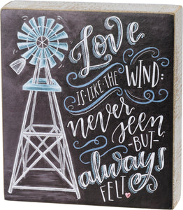 love is like the wind chalk sign