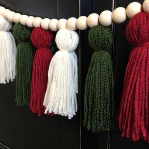 Christmas Colors Yarn Tassel Garland