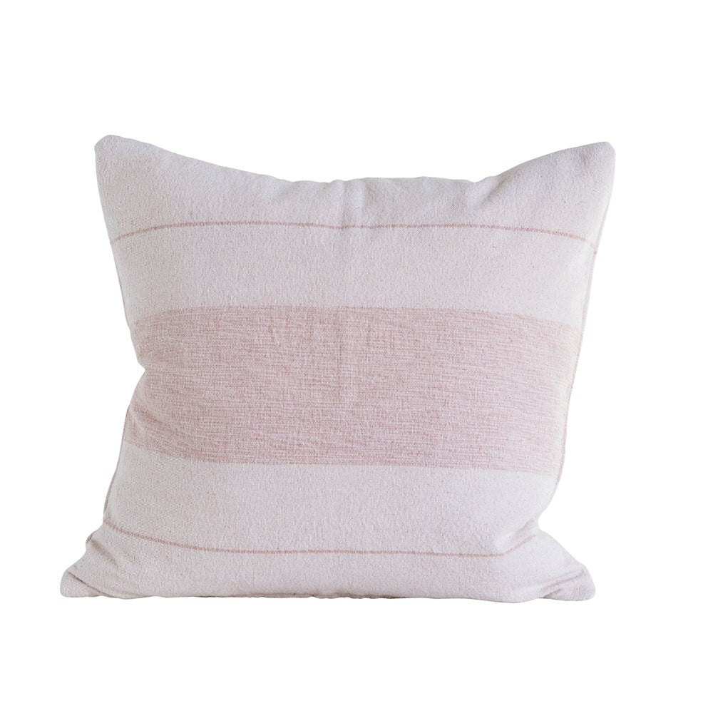 Cotton Woven Pink Striped Pillow
