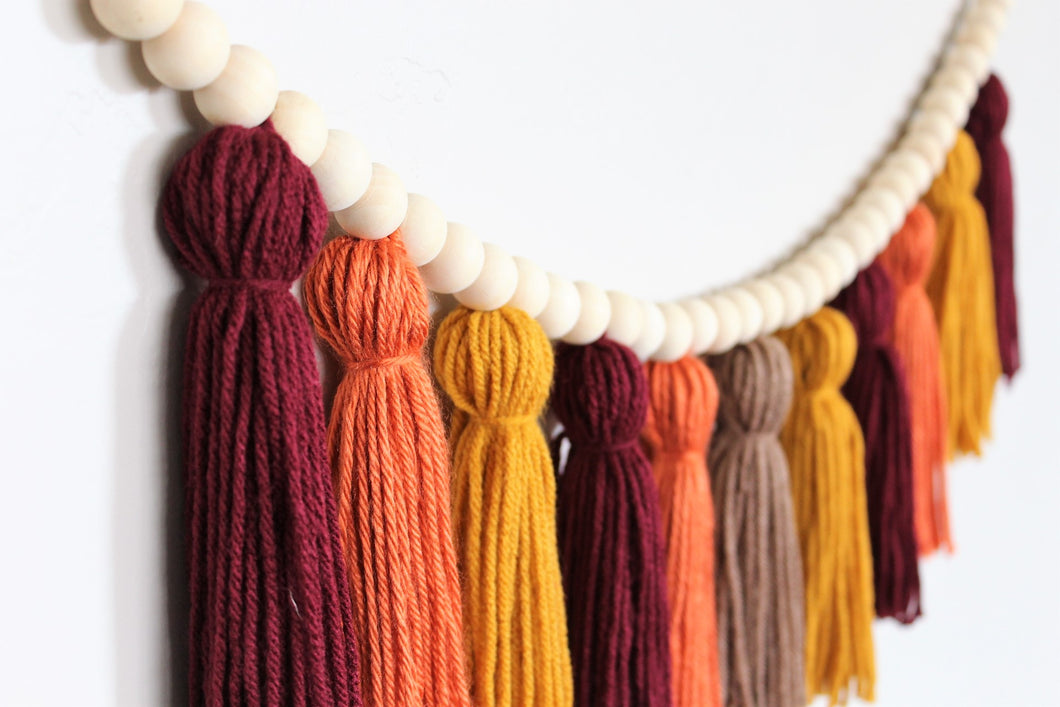 Fall Yarn Tassel Garland