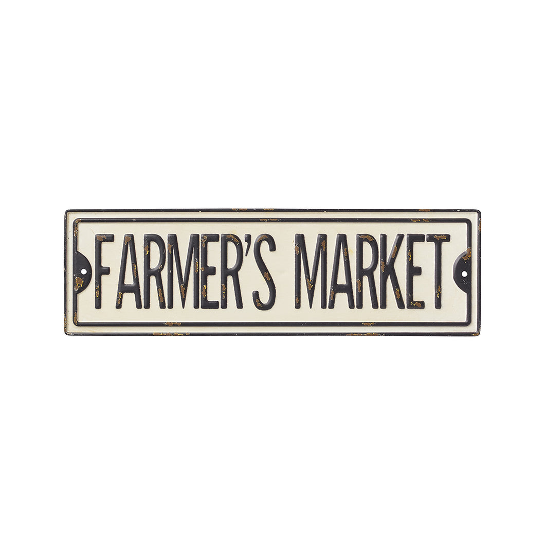 farmer's market street sign
