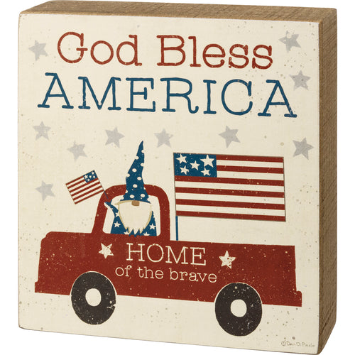 God Bless America Box Sign