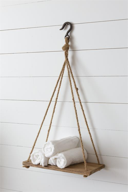 Hanging rope shelf with metal hook