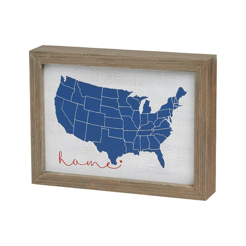Home-American Map Wood Box Sign