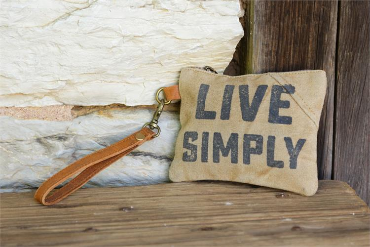 Canvas and leather Live simply wristlet