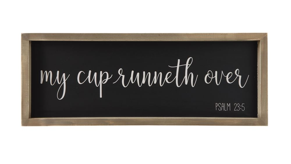 wood framed wall decor cup runneth over